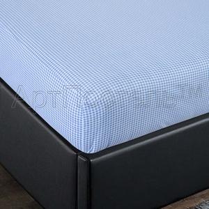 Простыня на резинке Арт Постель 140х200 клетка голубая