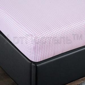 Простыня на резинке Арт Постель 180х200 клетка розовая