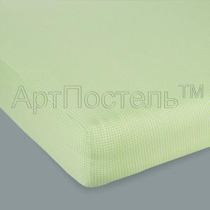 Простыня на резинке Арт Постель 180х200 клетка зеленая