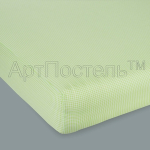 Простыня на резинке Арт Постель 140х200 клетка зеленая