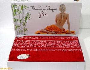 Простынь бамбук махровая 160х220 Julie красная