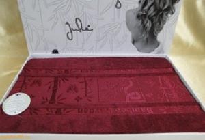 Простынь бамбук махровая, 200х220 Julie бордовая